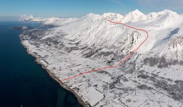 Piste map of Rundfjellet, Lyngen, Fjord Norway