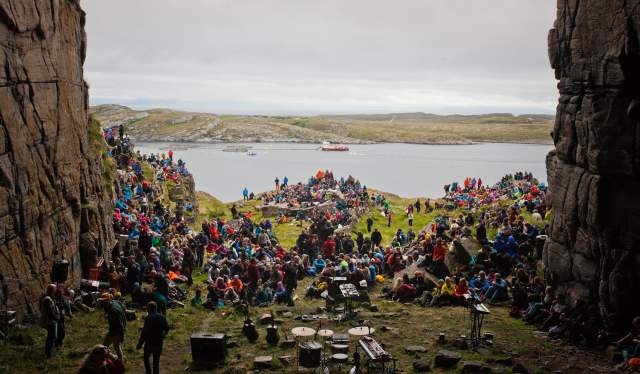 Crowd watching a concert at Trænafestivalen, Helgeland, Northern Norway
