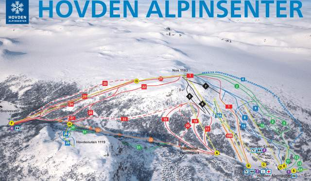 Piste map Hovden alpine center