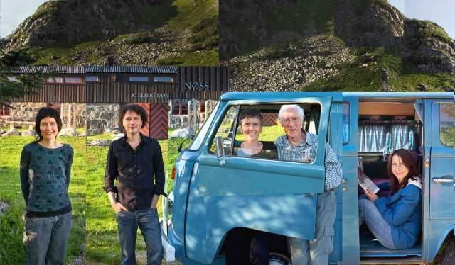 Photo collage with Espen Tollefsen and his family standing near a blue van in front of Atelier Nøss on Andøya, Northern Norway