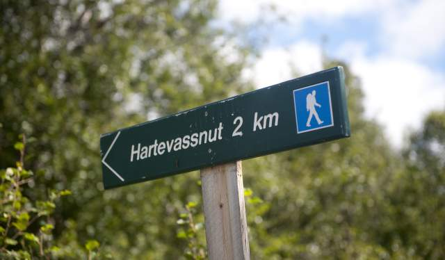 Signpost to the hiking trails