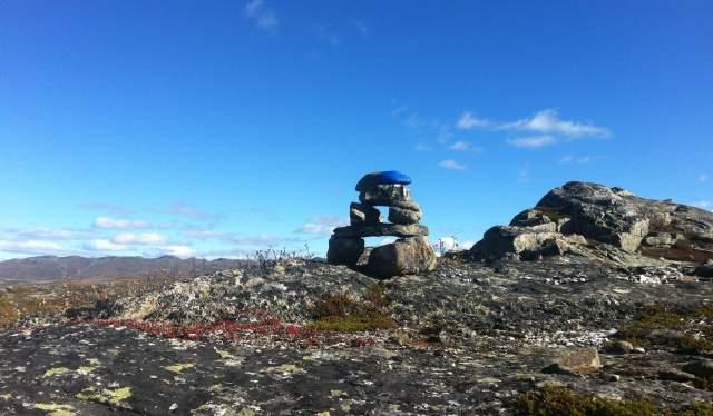Blue markings on rocks