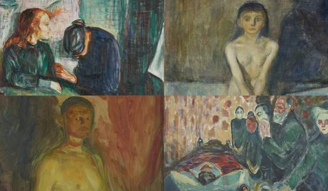 Collage of four Munch paintings for the Munch + Music project