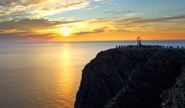 The North Cape plateau in midnight sun