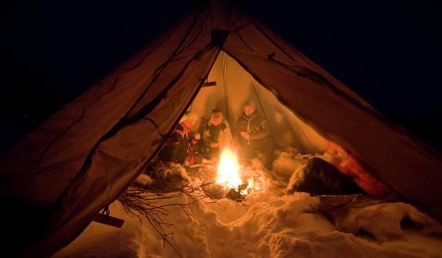 People in a lavvo, Finnmark