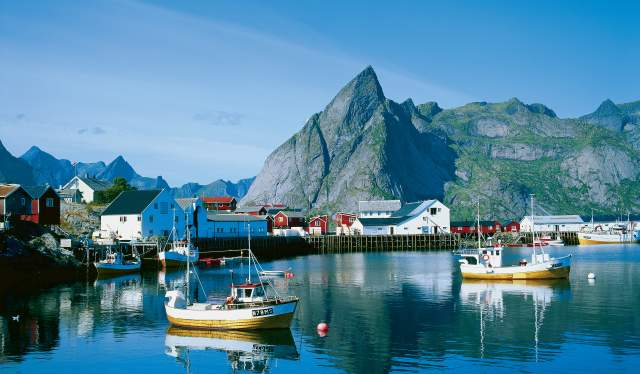 Boats in the fjord of Lofoten