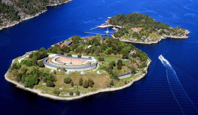 Oscarsborg fortress in Drøbak, Norway from the air