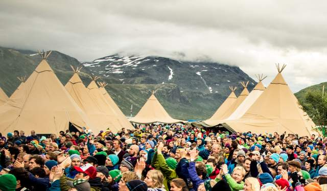 A crowd between tents at Vinjerock, Jotunheimen, Eastern Norway