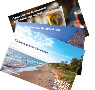 Post cards on desk