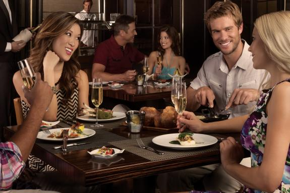 Young people enjoying a gourmet dinner in Las Vegas, Nevada