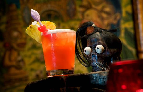 Cocktail  with pineapple on display at Frankie's Tiki Room in Las Vegas, Nevada