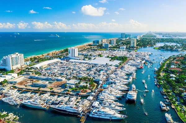 Aerial shot of super yachts at the Fort Lauderdale International Boat Show