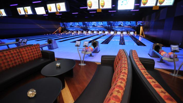Inside Strikz entertainment center looking at the bowling alley