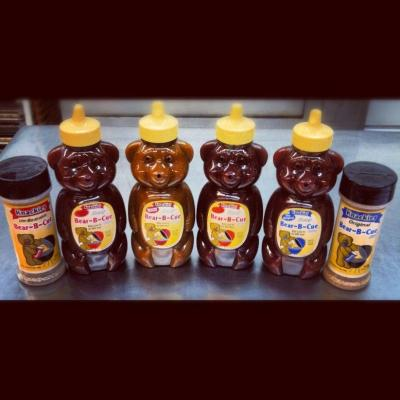Knackie's BBQ sauces in their trademark Honey Bear container