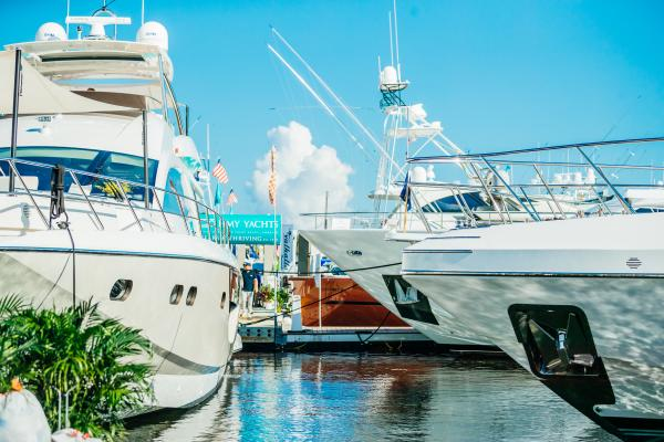 The bows of three yachts