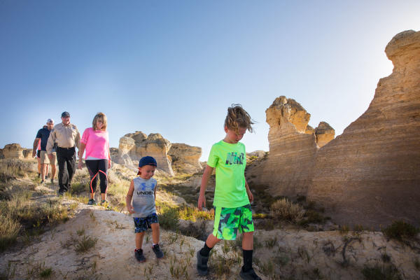 Family hiking at Little Jerusalem State Park