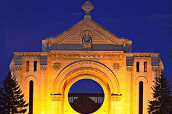 St. Boniface Cathedral in Winnipeg at night