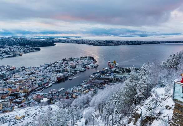 View from Mount Fløyen in Bergen, Fjord Norway, in winter
