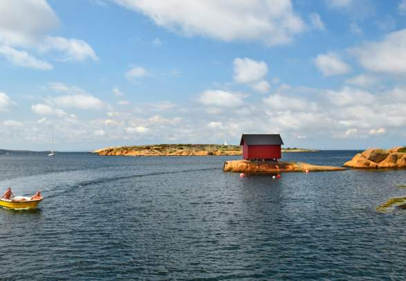 Boat in the ocean outside of Hvaler in Østfold
