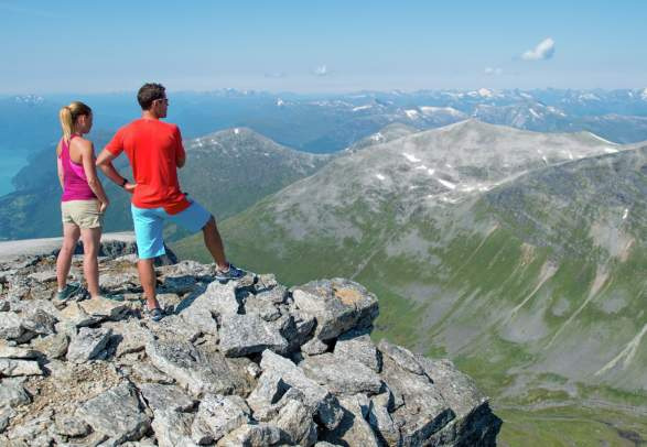 Hiking by the Skaala summit in Nordfjord,