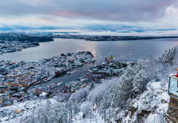 L'hiver au Mount Fløyen à Bergen