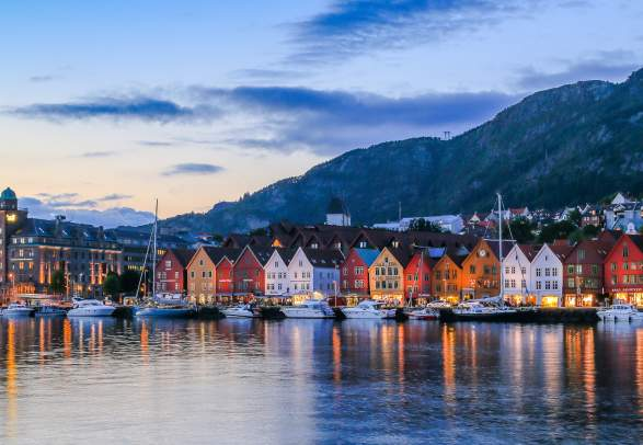 Evening at the UNESCO world heritage site Bryggen in Bergen, Fjord Norway