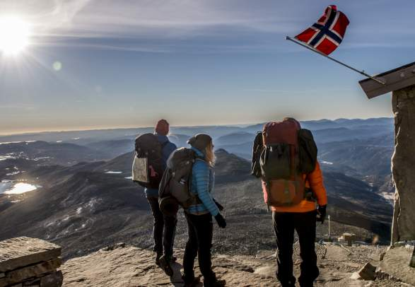 People standing at the top of Mount Gaustatoppen near Rjukan in Telemark, Eastern Norway