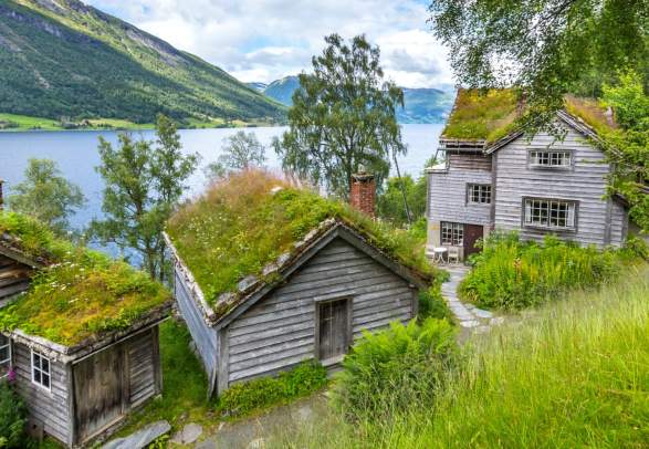 Old wooden houses with grass on the roof at a fjord bank in Jølster