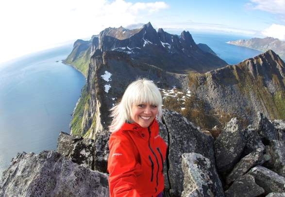At the top of Segla at Senja, Northern Norway