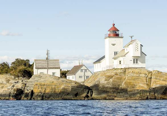 Langøytangen lighthouse on the island of Langøya in Langesund