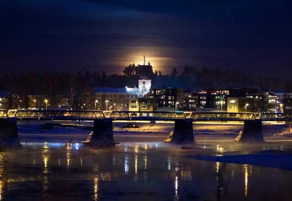 Elverum city view by night