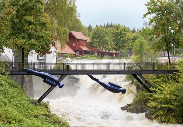 Idyllic waterfall at Bærums Verk