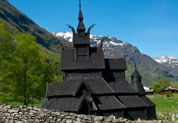 Borgund stave church in Lærdal, Norway in summer