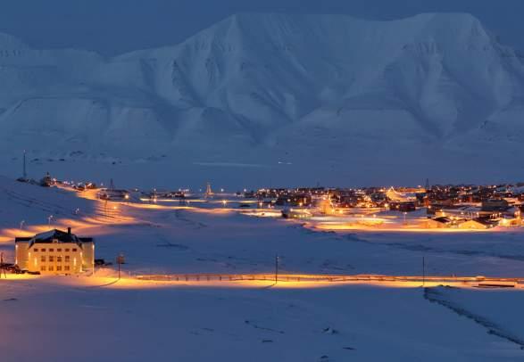 Snowcovered Longyearbyen, Svalbard, Northern Norway