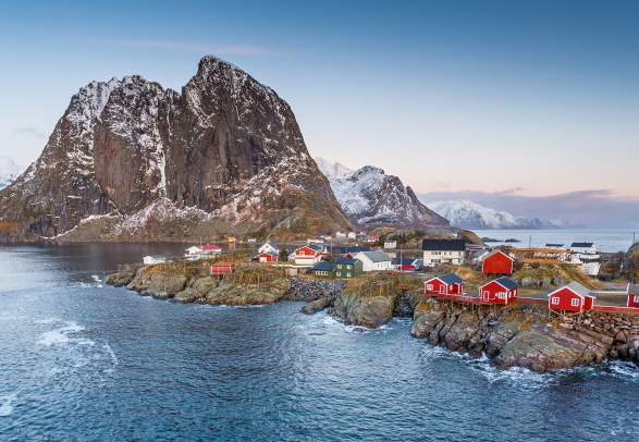 The fishing village Hamnøy in Lofoten in winter, Northern Norway
