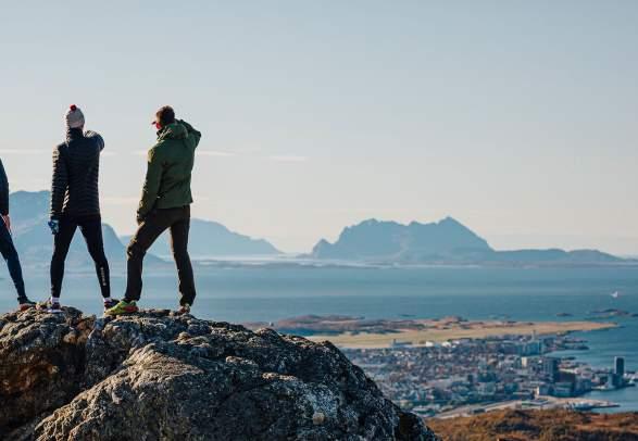 People hiking to Keiservarden in Bodø, Northern Norway