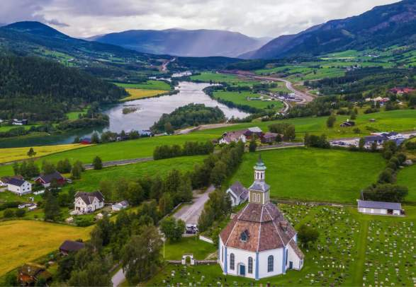 Aerial of Sør-Fron Church in the Gudbrandsdalen valley of Eastern Norway