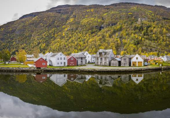 Old small town Lærdalsøyri in Sogn, Fjord Norway