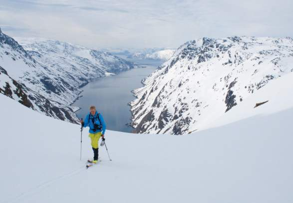 Skiing in Seiland national park near Hammerfest, Northern Norway