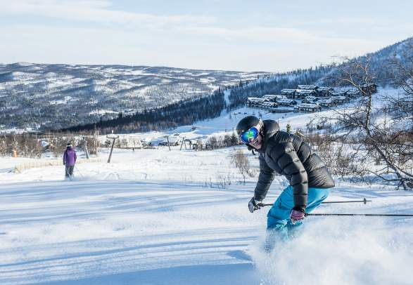 A person skiing in the Geilo ski resort, Eastern Norway
