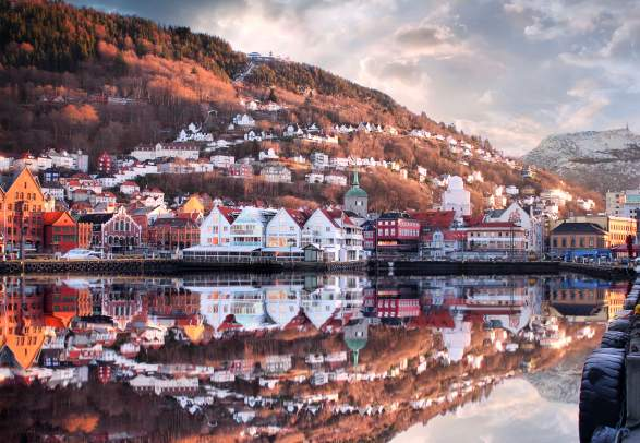 The UNESCO world heritage site Bryggen in Bergen, Fjord Norway