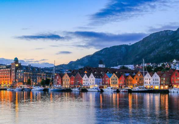 The Hanseatic wharf in Bergen, Norway on a summer evening