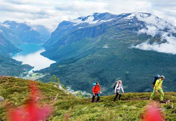 Hiking at Mount Hoven near Loen Skylift in Loen in the Nordfjord area of Fjord Norway