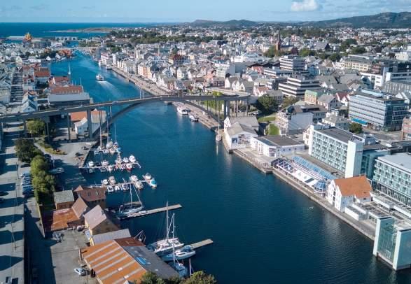 Haugesund city in Fjord Norway