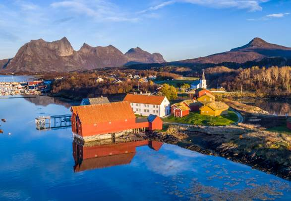 Image of the landscape of Kjerringøy in Bodø, Northern Norway during summer