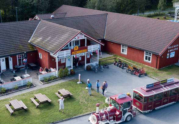 Aerial view of kid-friendly Mosjøen camping in Helgeland, Northern Norway