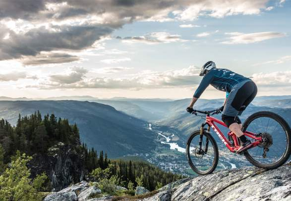 Mountain biking in Hallingdal: A person mountain biking on Mount Beia near Nesbyen in Eastern Norway