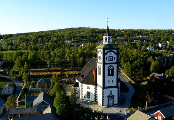 Røros church, Bergstaden Ziir, in Trøndelag, Norway
