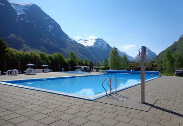 The pool at kid-friendly Byrkjelo camping in Nordfjord, Fjord Norway