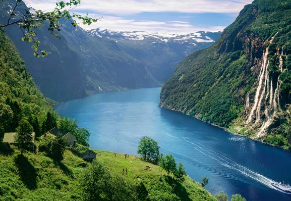 View over Geirangerfjord and the Seven Sisters waterfall